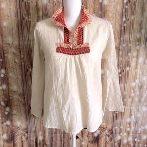 VINTAGE BOHO 1950's SHIRT FLORAL RED COLLAR